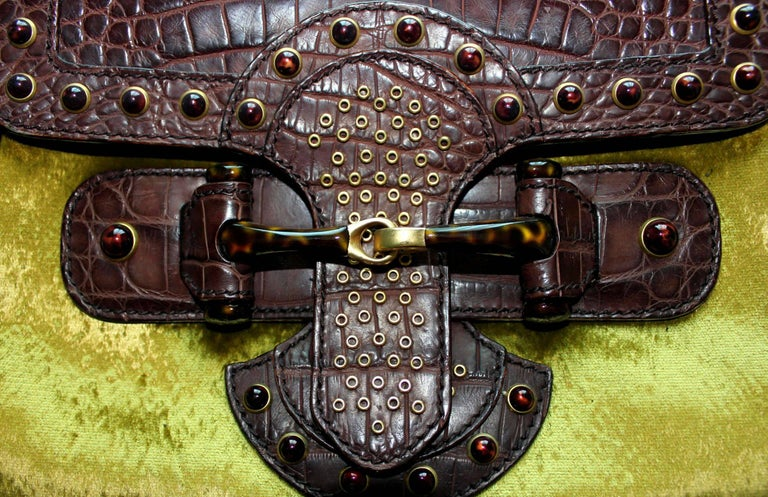 Gucci by Tom Ford Studded Crocodile and Velvet Horsebit Handbag Purse In New Condition For Sale In Switzerland, CH