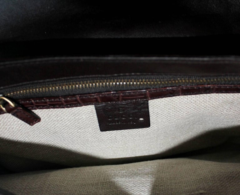 Women's Gucci by Tom Ford Studded Crocodile and Velvet Horsebit Handbag Purse For Sale