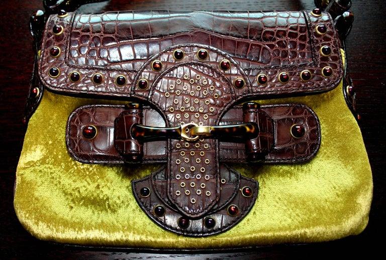 Black Gucci by Tom Ford Studded Crocodile and Velvet Horsebit Handbag Purse For Sale