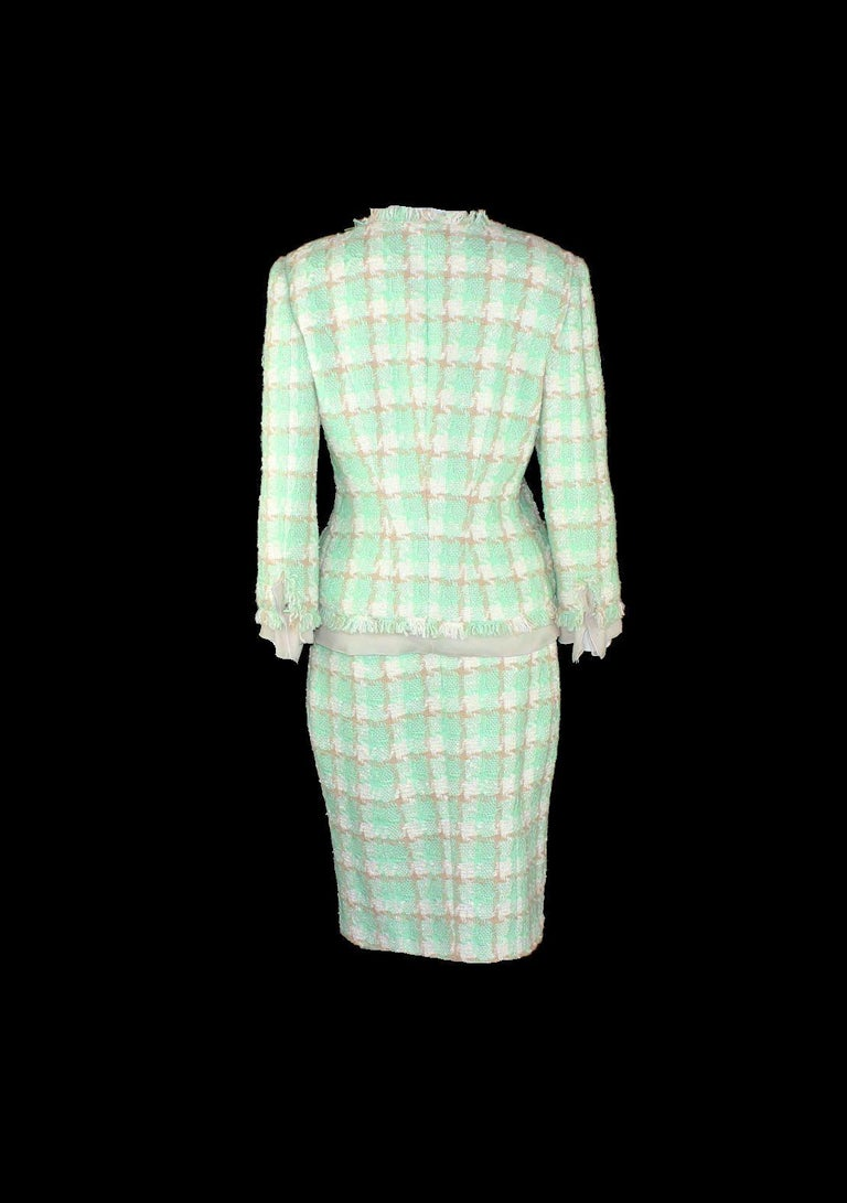 Beige Iconic Chanel Lesage Fantasy Tweed and Silk Camellia Pastels Skirt Suit  For Sale