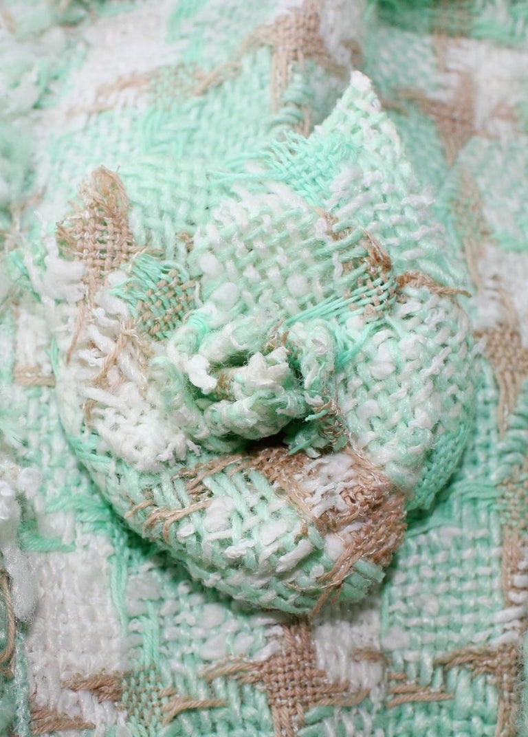 Iconic Chanel Lesage Fantasy Tweed and Silk Camellia Pastels Skirt Suit  In Good Condition For Sale In Switzerland, CH