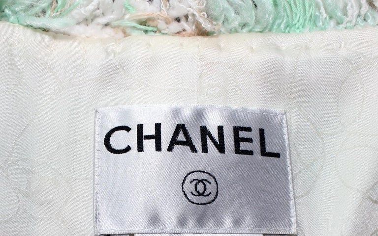Iconic Chanel Lesage Fantasy Tweed and Silk Camellia Pastels Skirt Suit  For Sale 2