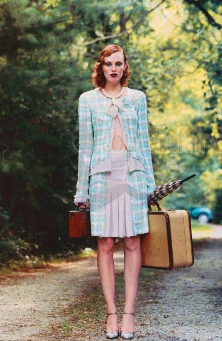 Iconic Chanel Lesage Fantasy Tweed and Silk Camellia Pastels Skirt Suit  For Sale 8