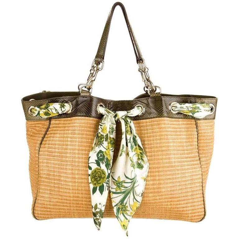 4bdae92a738 Gucci Woven Straw and Snakeskin Flora Silk Tote Handbag Shopper