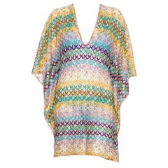 Colorful Missoni Crochet Knit Kaftan Cover Up Dress