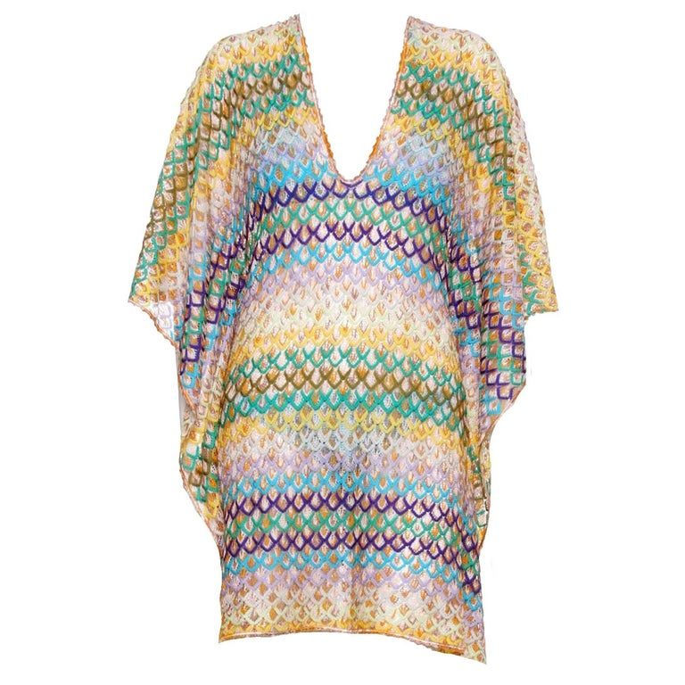 e1077f55f6a1 Colorful Missoni Crochet Knit Kaftan Cover Up Dress For Sale at 1stdibs