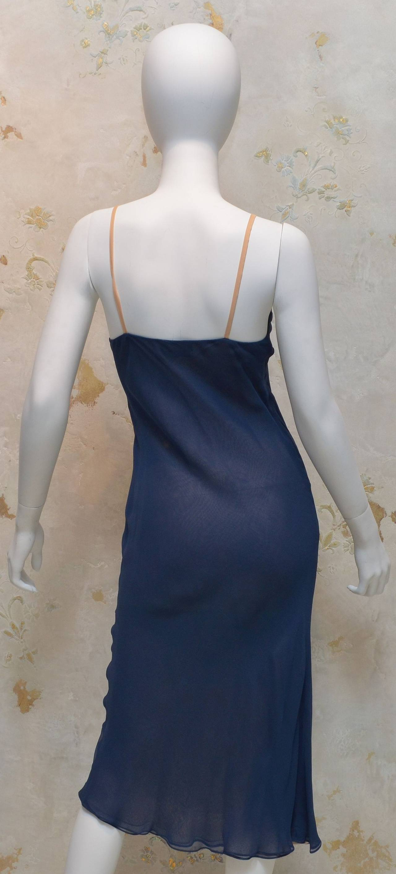 Vintage Halston Navy Blue Chiffon Slip Dress For Sale 1