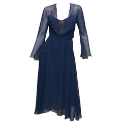 Vintage Halston Navy Blue Chiffon Slip Dress
