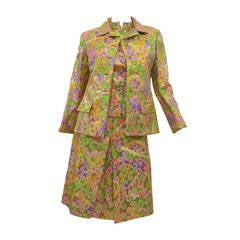 1960s Christian Dior Silk Brocade 3 Piece Suit