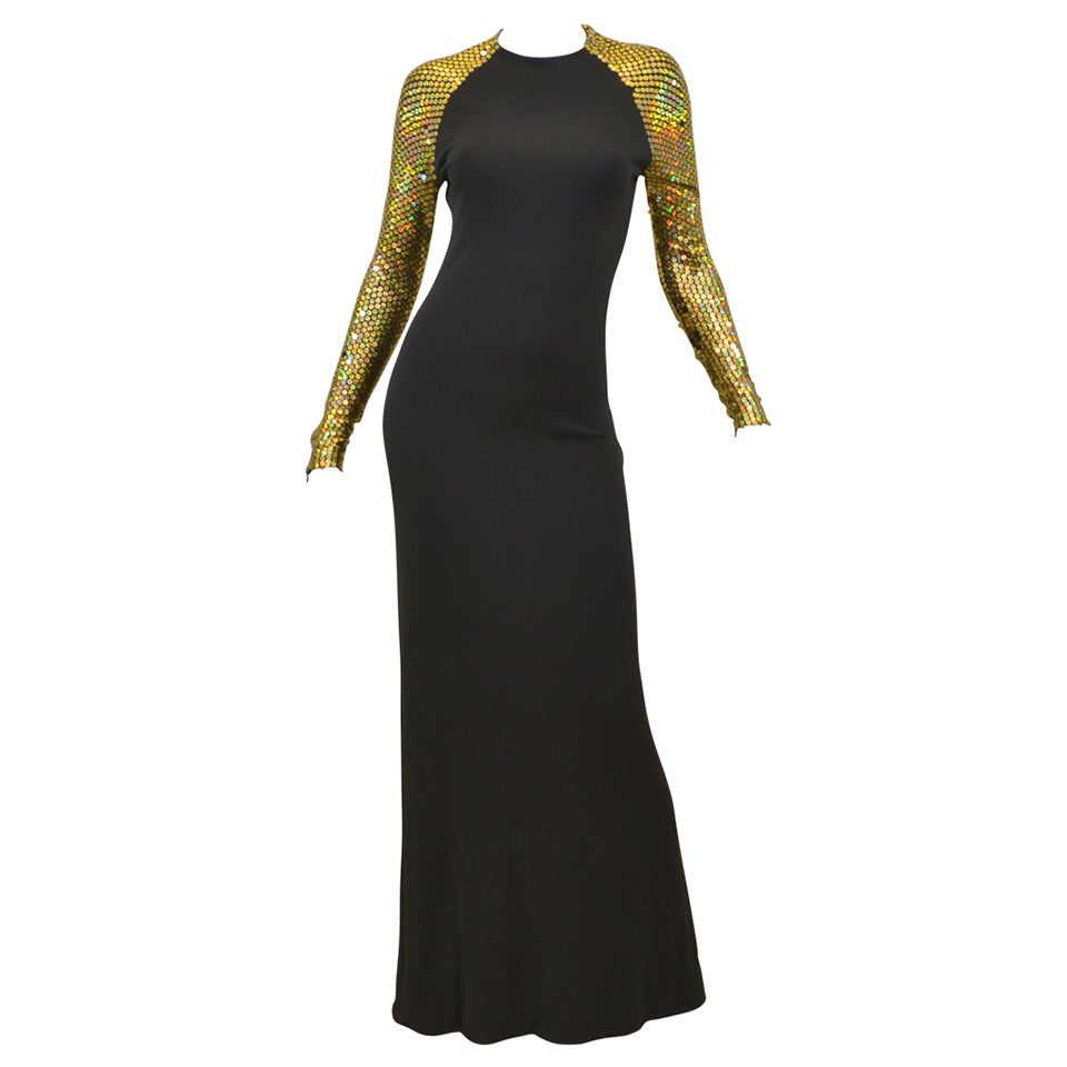 1970s Halston Black and Gold Sequin Shoulder Jersey Dress / Gown