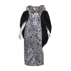 Michael Novarese White Burnout Velvet Gown Black Ostrich Feather Cape