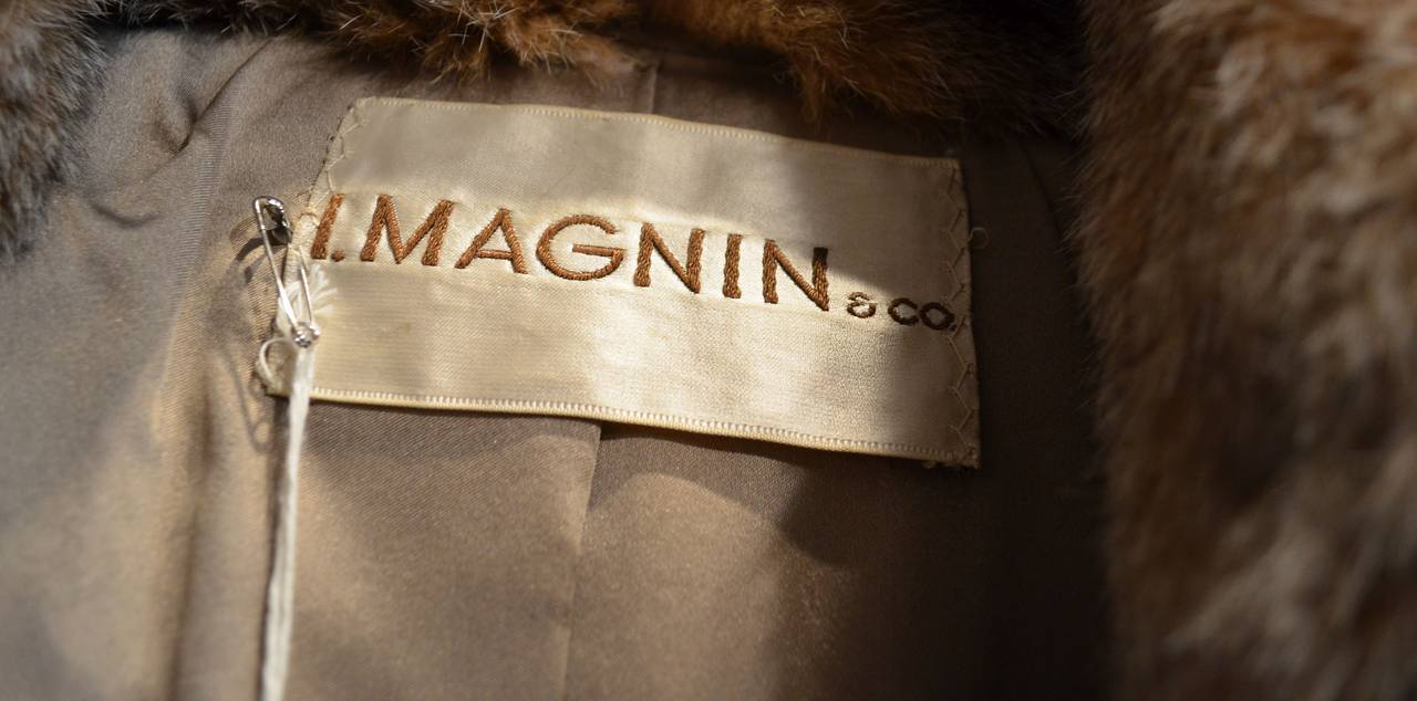 1960's Givenchy I. Magnin Tan White Spotted Leather Waist Tie Lynx Fur Coat For Sale 2
