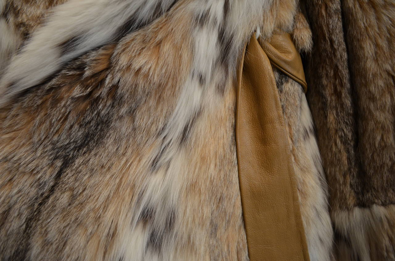 1960's Givenchy I. Magnin Tan White Spotted Leather Waist Tie Lynx Fur Coat For Sale 1