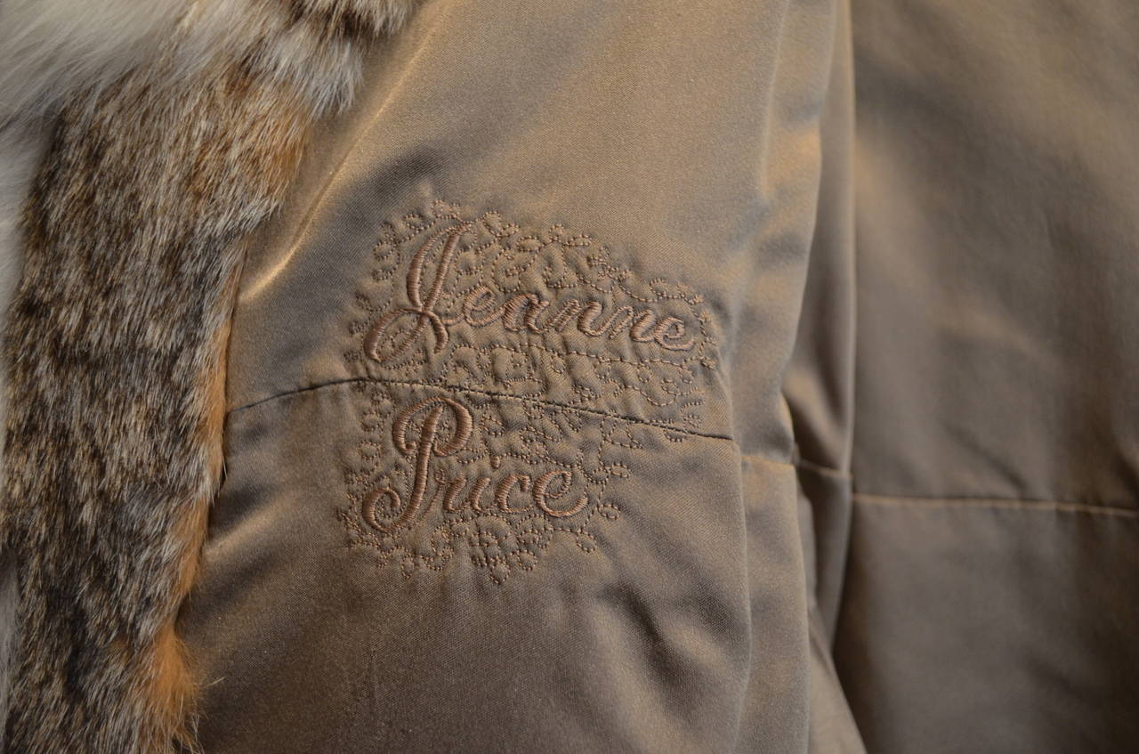 1960's Givenchy I. Magnin Tan White Spotted Leather Waist Tie Lynx Fur Coat For Sale 3