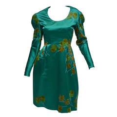 1960's Nettie Rosenstein New York Emerald Green Floral Dress