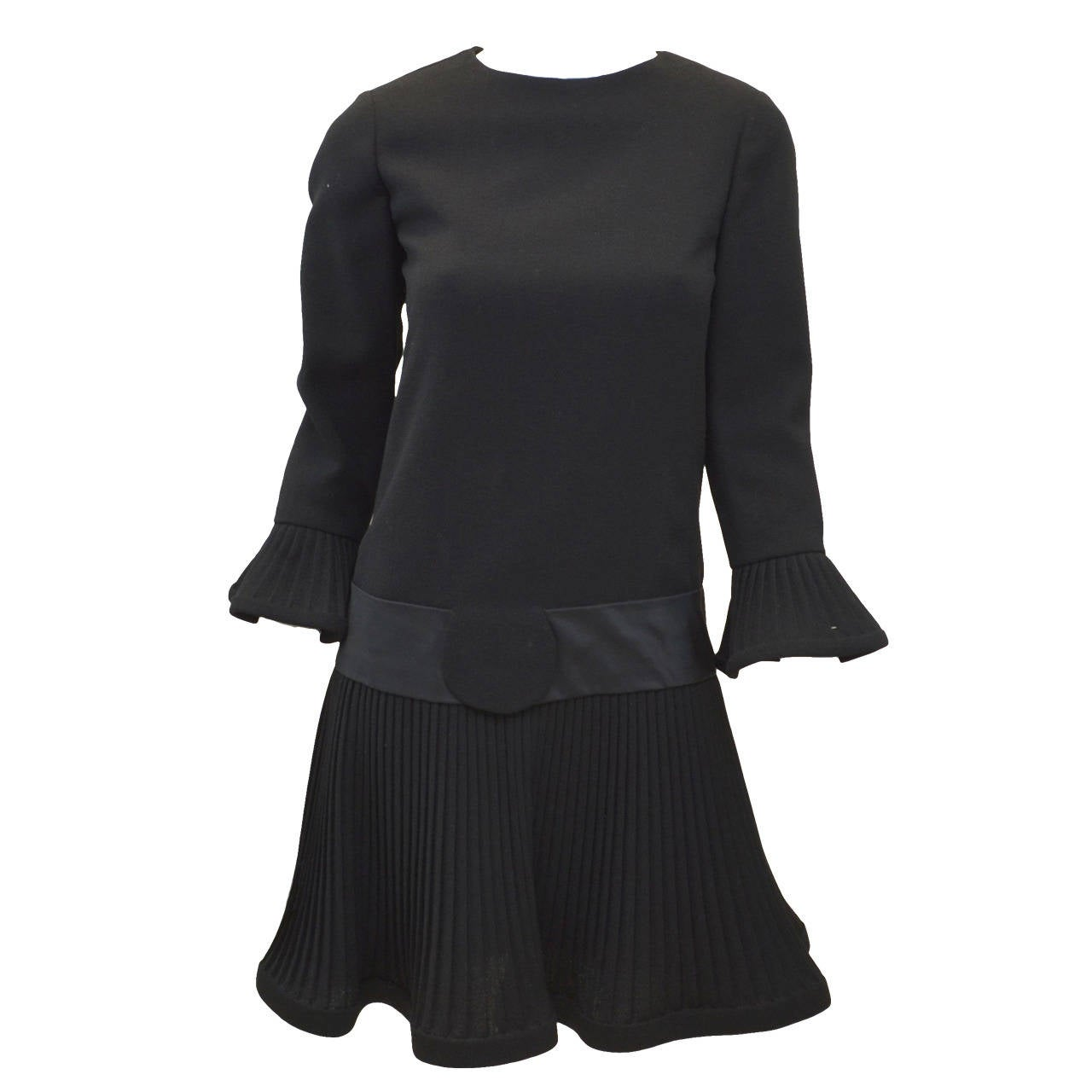 Pierre Cardin 1900's Wool Pleated Flare Mini Dress For Sale