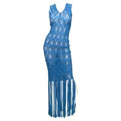 Wayu Handmade Bright Blue Crochet Knit Fringe Hem Dress