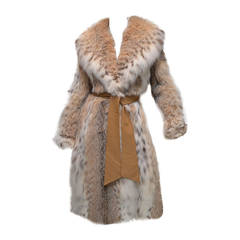 1960's Givenchy I. Magnin Tan White Spotted Leather Waist Tie Lynx Fur Coat