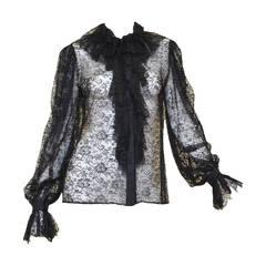 Oscar de la Renta Black Floral Lace Ruffle Collar Blouse Top
