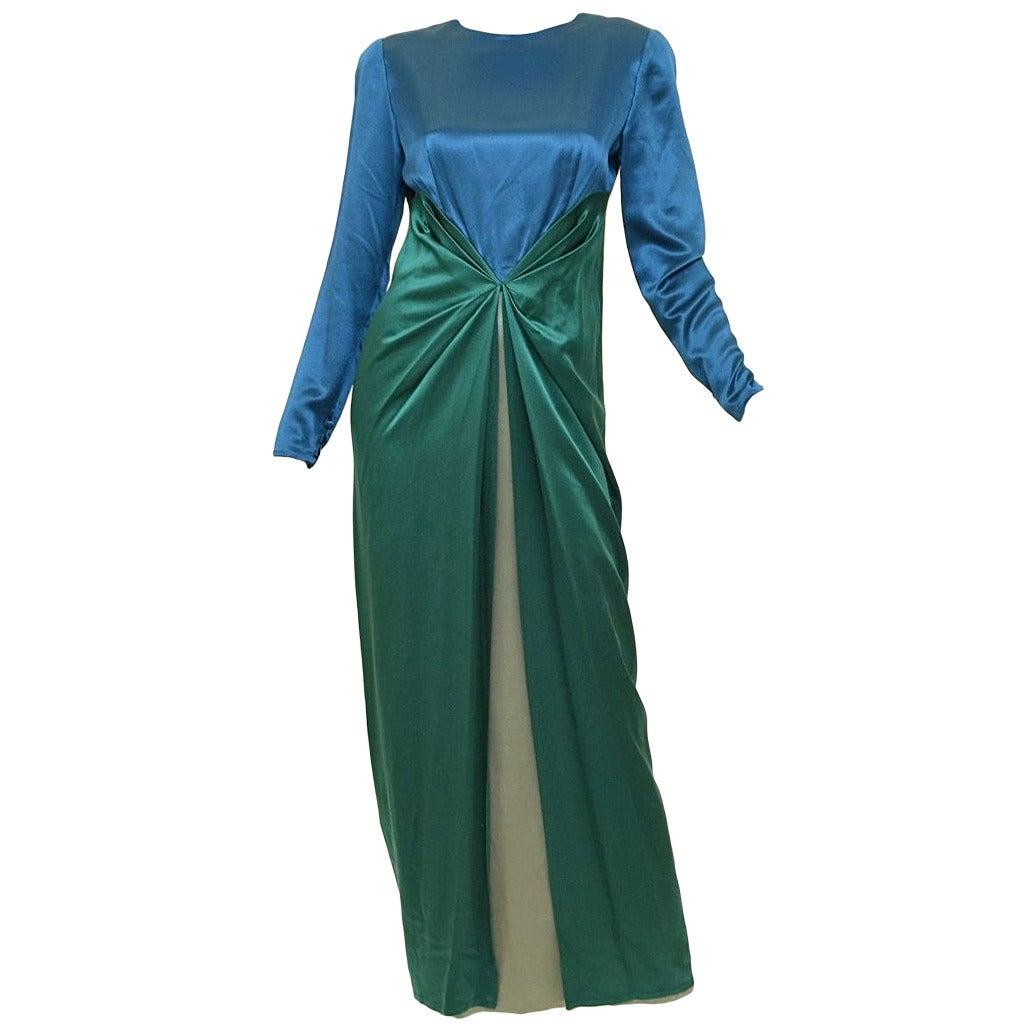 572ac6d912 Vintage Bill Blass Teal Blue   Green Satin Long Sleeve Gown Dress For Sale