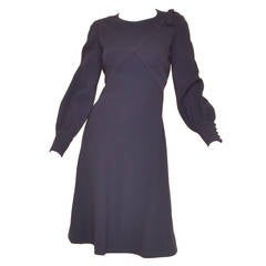 1970's Pierre Cardin Mod Structured Wool Navy Blue A Line Dress