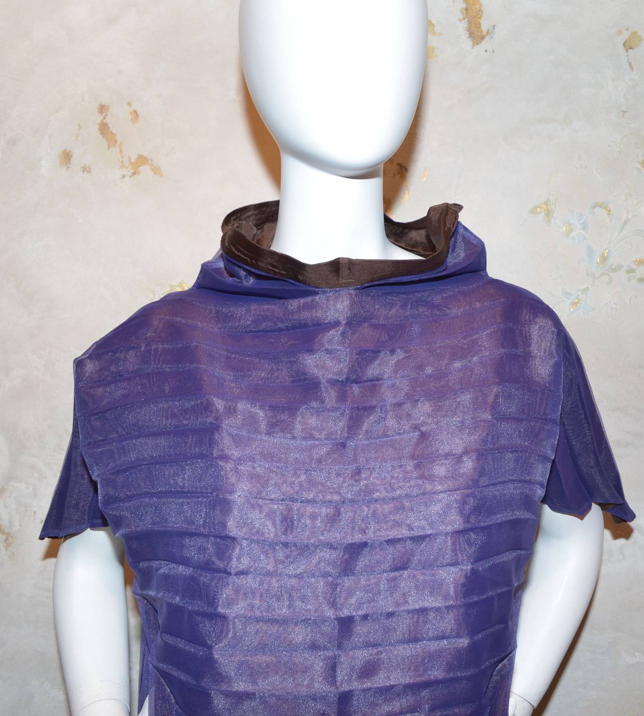 Issey Miyake Purple Pleated Origami A-Line Dress In Excellent Condition For Sale In Carmel by the Sea, CA