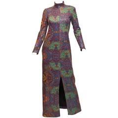 1970's Malcom Star Multi Color Sequin Print Column Gown Dress