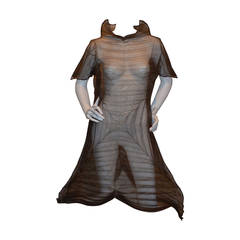 Issey Miyake Brown Pleated Origami Polyester A-line Dress