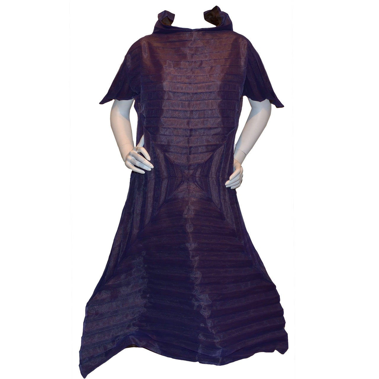 Issey Miyake Purple Pleated Origami A-Line Dress For Sale