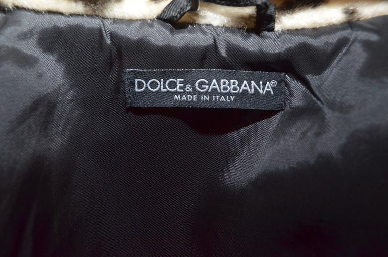 Dolce & Gabbana Faux Fur Leopard Jacket In Excellent Condition For Sale In Carmel by the Sea, CA