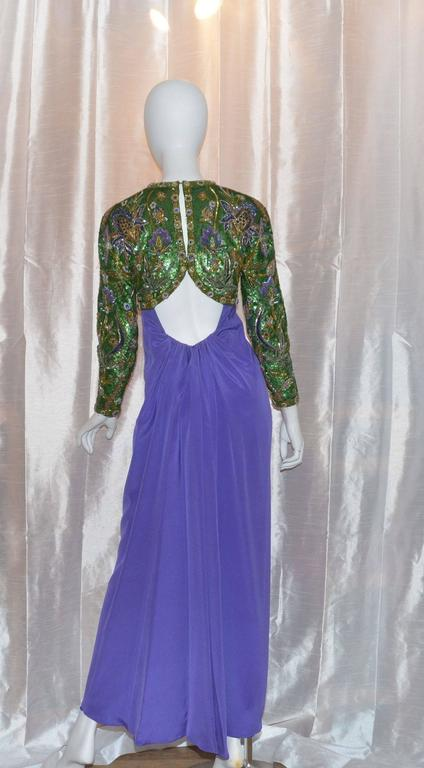 Oscar de la Renta Purple Embellished Open Back Gown 3