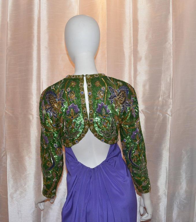 Oscar de la Renta Purple Embellished Open Back Gown 4