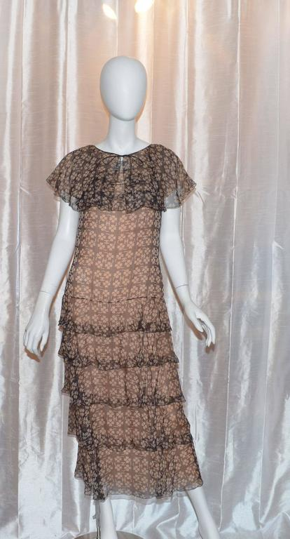 Chanel Silk 4 Leaf Clover Chiffon Gown In Excellent Condition For Sale In Carmel by the Sea, CA