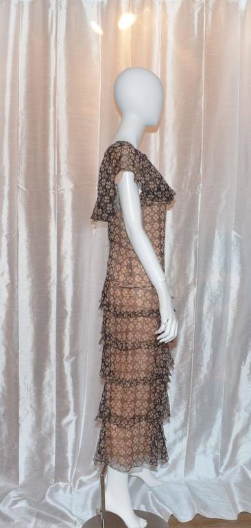 Chanel Silk 4 Leaf Clover Chiffon Gown 6
