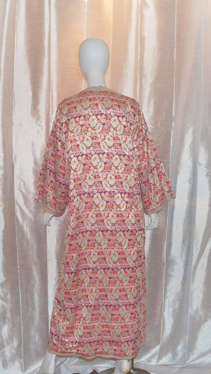Vintage Moroccan 1960's Lame Floral Embroidered Caftan Dress 3