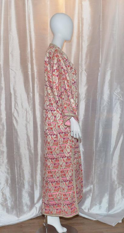 Vintage Moroccan 1960's Lame Floral Embroidered Caftan Dress 2