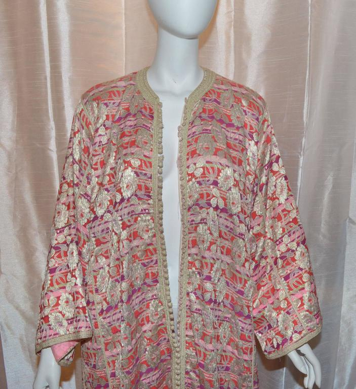 Vintage Moroccan 1960's Lame Floral Embroidered Caftan Dress 4