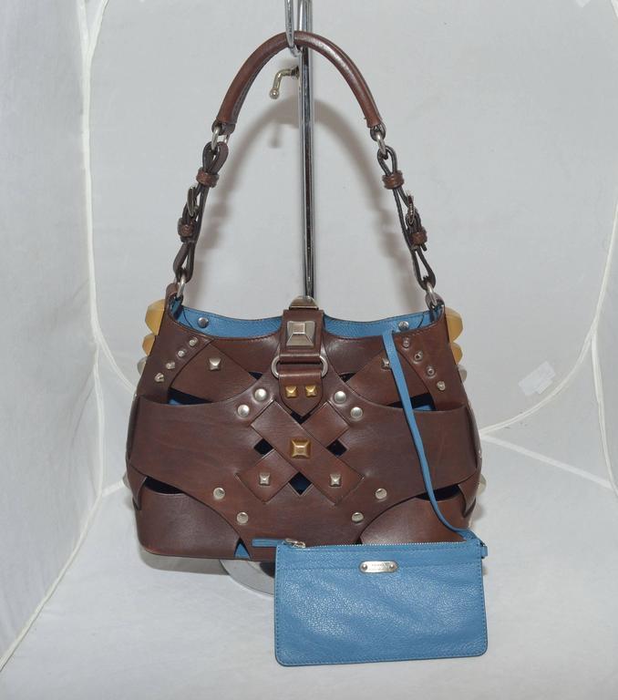 Prada Woven Leather Studded Cutout Mini Handbag 3