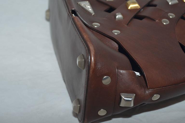 Prada Woven Leather Studded Cutout Mini Handbag 6