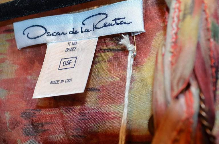 Oscar de la Renta 2009 Red Tan Print Silk Maxi Caftan Dress with Necklace 5