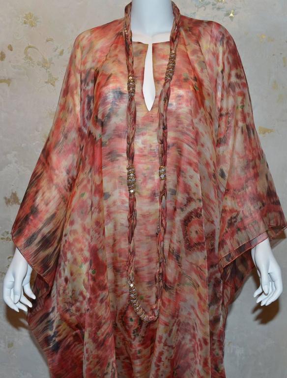 Oscar de la Renta 2009 Red Tan Print Silk Maxi Caftan Dress with Necklace 2