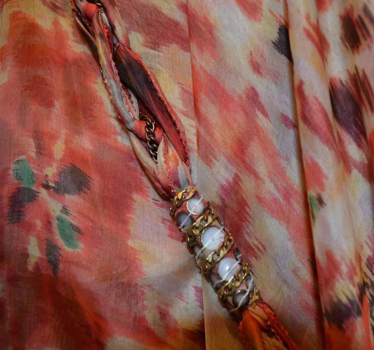 Oscar de la Renta 2009 Red Tan Print Silk Maxi Caftan Dress with Necklace 6