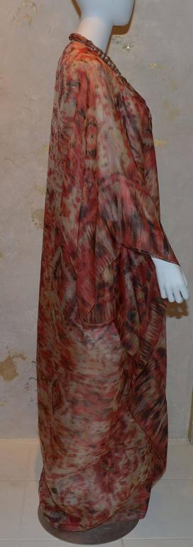 Oscar de la Renta 2009 Red Tan Print Silk Maxi Caftan Dress with Necklace 4