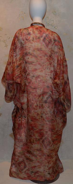 Oscar de la Renta 2009 Red Tan Print Silk Maxi Caftan Dress with Necklace 3