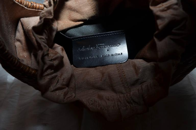Salvatore Ferragamo Basket Weave Wicker Handbag For Sale 1
