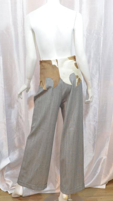 Gray Dolce & Gabbana Western High Waist Plaid Pants For Sale