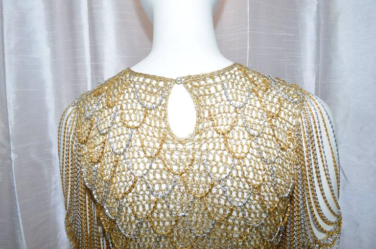 Loris Azzaro Metallic Chain Top In Excellent Condition For Sale In Carmel by the Sea, CA