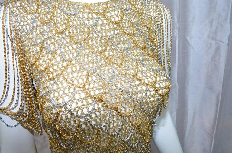 Women's Loris Azzaro Metallic Chain Top For Sale
