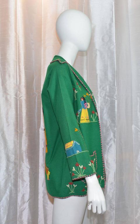 Vintage Mexican Tourist Felt Knit Jacket 2
