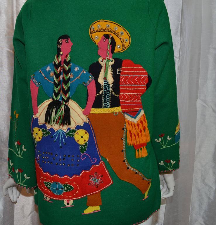 Vintage Mexican Tourist Felt Knit Jacket 4